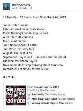 Seehofer macht es öffentlich: Seine Songs für 2013.