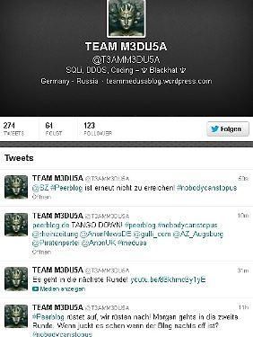 Die Twitter-Seite vom Team M3DU5A.