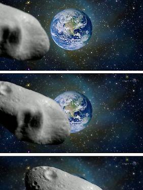 Computeranimation eines Nasa-Videos: Vorbeiflug eines Asteroiden an der Erde. (für die gesamte Ansicht: aufs Bild klicken)