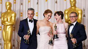 Die besten Darsteller: Daniel Day Lewis (l.), Jennifer Lawrence (2.v.l.), Anne Hathaway und Christoph Waltz.