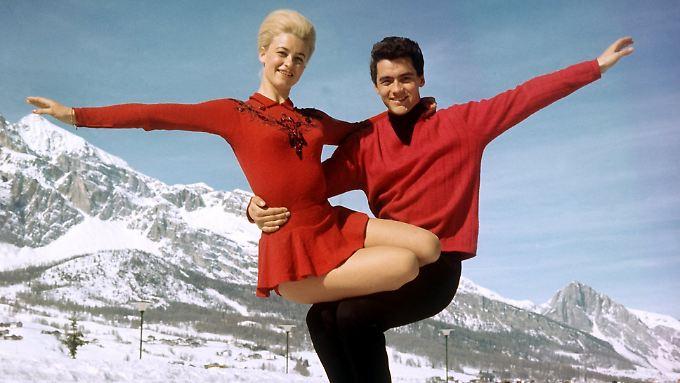 Marika Kilius und Hans-Jürgen Bäumler beim Training in Cortina d'Ampezzo (undatiertes Archivbild).