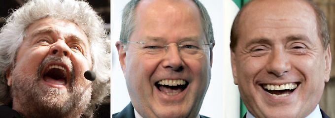 Sie können schon wieder lachen: Grillo, Steinbrück und Berlusconi.