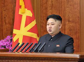 Nordkoreas Staatschef Kim Jong Un, kämpferisch.