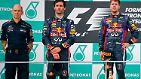 Verkniffene Gesichter bei Sebastian Vettel und Mark Webber.