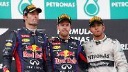 Fahrer-Zoff bei Red-Bull: Vettel vs. Webber: Eiszeit auf dem Podest