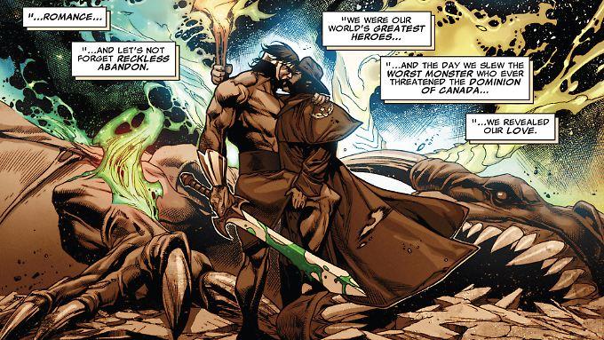 Wer gemeinsam kämpft, kann auch gemeinsam knutschen: Wolverine und Hercules.