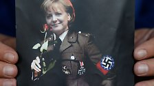 "So richtig ""in Mode"" kamen Merkel-Collagen in Nazi-Uniform ..."