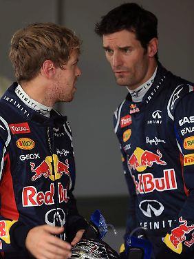 Sebastian Vettel (l.) und Mark Webber fahren seit 2009 für Red Bull. Weltmeister war nur Vettel, dafür aber dreimal.