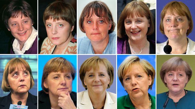 Angela Merkel im optischen Jahresvergleich. Obere Reihe: 1991, 1994, 1997, 1999, 2000. Untere Reihe: 2001, 2003, 2009, 2010, 2013.