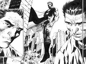 Die Superman-Ausstellung wartet mit etlichen Originalzeichnungen auf - hier von Jim Lee.