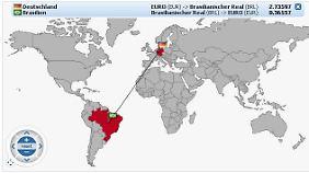 Schwerpunkte der Weltwirtschaft: Der Devisenrechner der Telebörse zeigt, wo Real und Euro stehen.