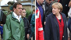 Ähnlich und doch anders: Gerhard Schröder am im August 2002 in Grimma, Angela Merkel in Passau.