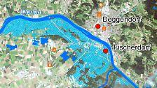 Ein näherer Blick verdeutlicht die dramatische Situation im Deggendorfer Stadtteil Fischerdorf, der komplett von den Wassermassen überflutet wurde. Während andernorts die Menschen schon wieder in ihre Häuser zurückkehren und mit den Aufräumarbeiten beginnen dürfen, bleibt Fischerdorf noch evakuiert.