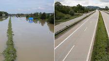 Vorher und nachher: So hoch war das Hochwasser