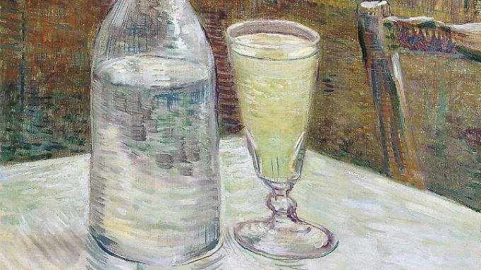 """""""Cafétisch mit Absinth"""" von Vincent van Gogh aus dem Jahre 1887. Absinth war der Vorläufer vom Pastis. Als Absinth 1915 verboten wurde, stellten Bauern in der Provence als Ersatz Pastis her. """"Pastiche"""" heißt auf Deutsch """"Nachahmung""""."""