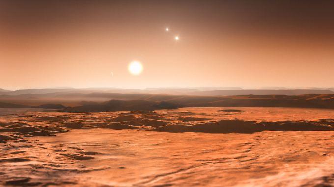 Die künstlerische Darstellung zeigt den Blick von Gliese 667Cd in Richtung des Muttersterns Gliese 667C, in dessen Nähe Astronomen mindestens sechs Planeten nachgewiesen haben.