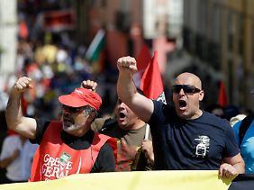 Protestierende Eisenbahner in Lissabon.
