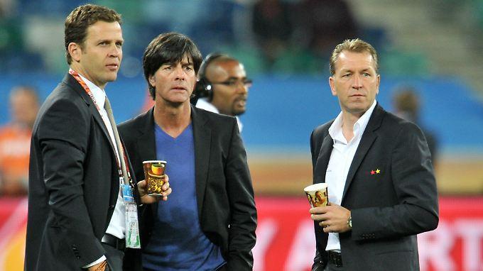 Und weiter geht's: Oliver Bierhoff, Joachim Löw und Andreas Köpke.