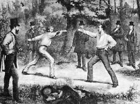 Ausdruck des Ehrgefühls: Wer sich dem Zweikampf stellte, wurde als Ehrenmann angesehen - ganz gleich, wer siegte. (Duell im Bois de Boulogne in Paris, Zeichnung von 1874)