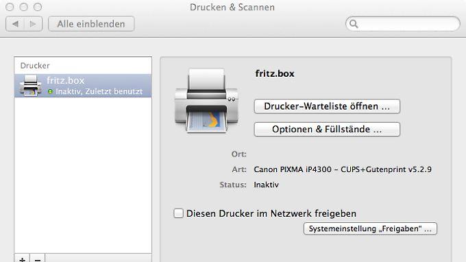 netzwerk drucker an der fritzbox auf dem mac einrichten so geht 39 s n. Black Bedroom Furniture Sets. Home Design Ideas