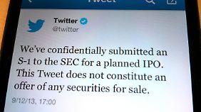 Stilecht kündigte Twitter seinen Börsengang an.