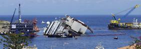 """Bergung der """"Costa Concordia"""" verzögert sich: Der havarierte Gigant hebt sich langsam"""