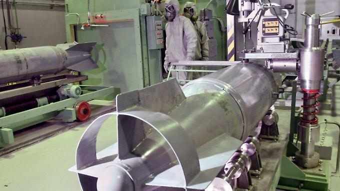 So sieht es aus, wenn Chemiewaffen zerstört werden: Ein Bild aus einer russischen Anlage.