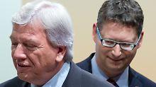 Die Hessen-Wahl kennt klaren Favoriten. Bouffier (l.) und Schäfer-Gümbel (r.) sind möglicherweise auf kleine Parteien angewiesen, wenn sie regieren wollen.