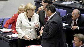 Notfalls eben mit Plan B: die Kanzlerin mit SPD-Chef Gabriel.