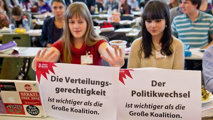 Die Jusos sind sich sicher: Mit der Union ist kein Politikwechsel möglich.