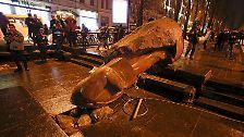 Mit einem Stahlseil reißen Demonstranten am Rande einer Protestaktion die Lenin-Statue von ihrem Sockel.
