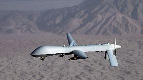 Die Drohne Predator bei einem Testflug.