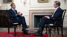 Obama mit Journalist Claus Kleber beim ZDF-Interview im Weißen Haus.