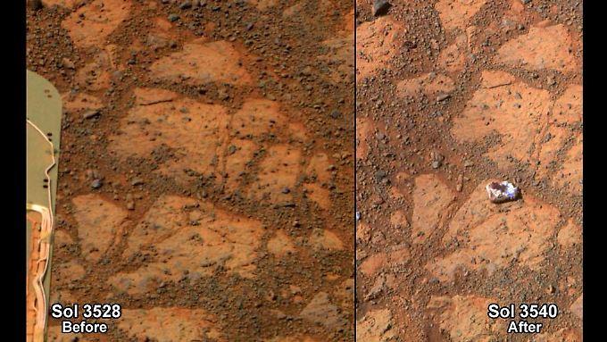 """""""Opportunity"""" war - so sah es aus - auf einen Stein gestoßen, der zwei Wochen zuvor noch nicht dort gelegen hatte. Er gab den Forschern Rätsel auf."""