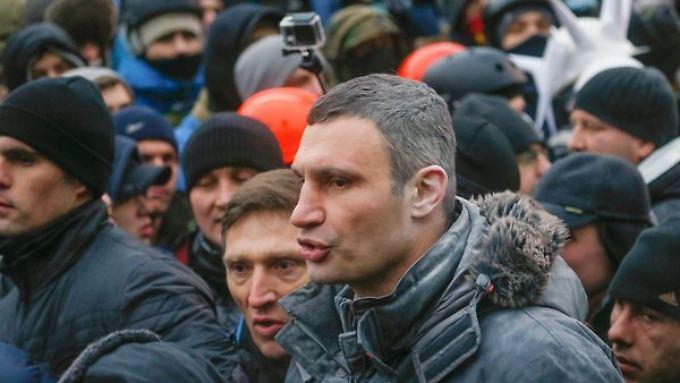 Vitali Klitschko während einer Demonstration in Kiew.