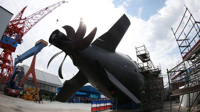 Ein U-Boot der Klasse 212A auf der Werft von ThyssenKrupp Marine Systems in Kiel.