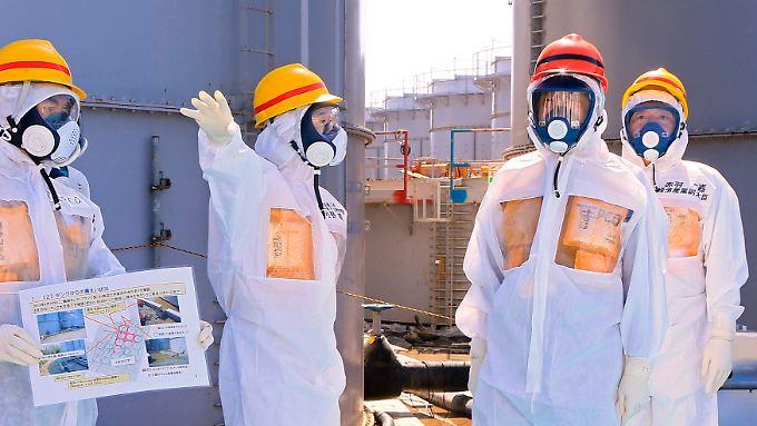 Doch lieber in Schutzkleidung: Japans Ministerpräsident Abe (2. von rechts) in Fukushima.