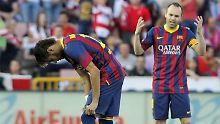 Neymar und Iniesta nach dem 1:0-Treffer von Brahimi in der 13. Minute.