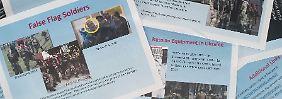 """Ein Satz zeigt einen bärtigen Mann mit einer Militärmütze in mehreren Einstellungen. Die Bildunterschriften behaupten, ein Bild wurde in Georgien im Jahr 2008, zwei andere in Kramatorsk und Sloviansk in diesem Jahr aufgenommen. Das Dokument markiert den bärtigen Mann als """" Soldat der russischen Spezialeinheiten""""."""