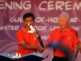 Bis zum 26. August brennt das olympische Feuer in Singapur.