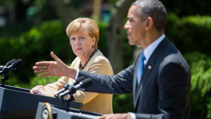 Angela Merkel und Barack Obama im Rosengarten des Weißen Hauses.