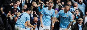 Hier feiert der Meister: Manchester City hat es geschafft.