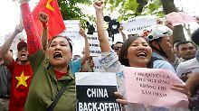 Die vietnamesischen Proteste gegen China dauern seit Tagen an, hier ein Bild vom 11. Mai.
