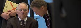 Finanzminister Schäuble (l.) und sein Chefhaushälter Barthle.