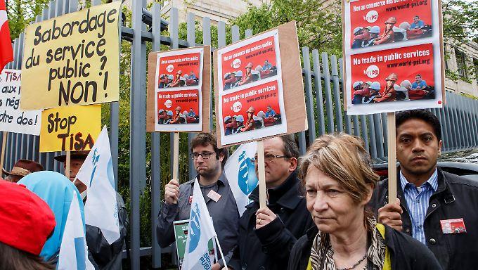 Protest gegen Tisa in der Schweiz.