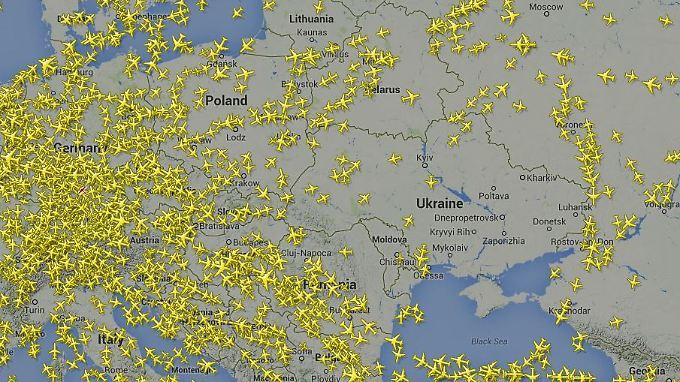 Die Flugzeuge machen momentan einen großen Bogen um die Ukraine.