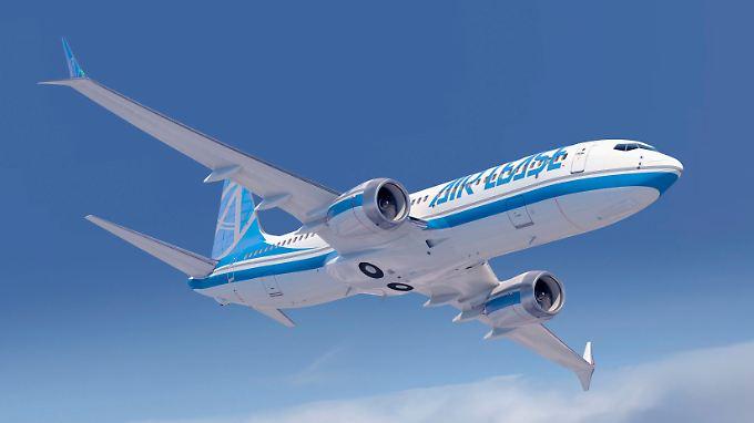 In Zukunft könnten Boeing-Flugzeuge wie die 737 MAX, hier ein Computer-Modell, mit Bio-Kerosin aus Tabak betankt werden.