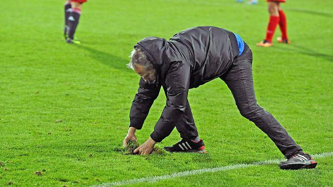 Christian Streich entspannt sich bei der Rasenpflege.