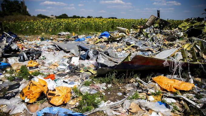 Überreste der Boeing 777 am Absturzort.