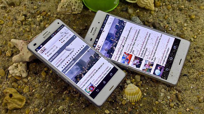 Das Sony Xperia Z3 und das Xperia Z3 Compact sind wasser- und staubfest.